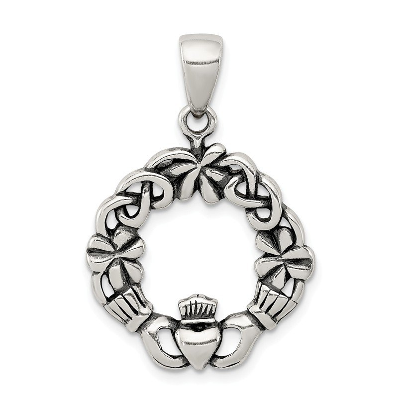 Quality Gold Sterling Silver Antiqued Claddagh Pendant