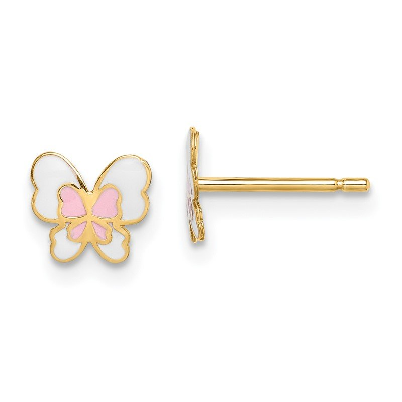 Quality Gold 14k Madi K Enamel Butterfly Post Earrings