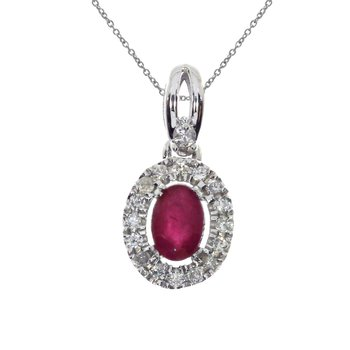 14k White Gold  Oval Ruby and Diamond Halo Pendant