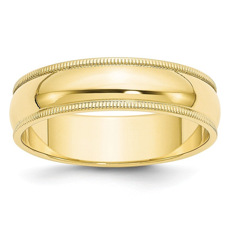 Quality Gold 10KY 6mm Milgrain Half Round Band Size 10