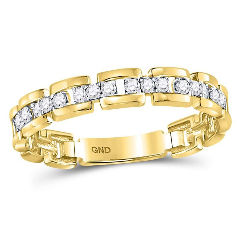 Kingdom Treasures 10kt Yellow Gold Womens Round Diamond Rolo Link Stackable Band Ring 1/5 Cttw