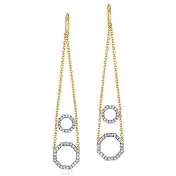 Yellow gold diamond hanging wire double Hero earrings