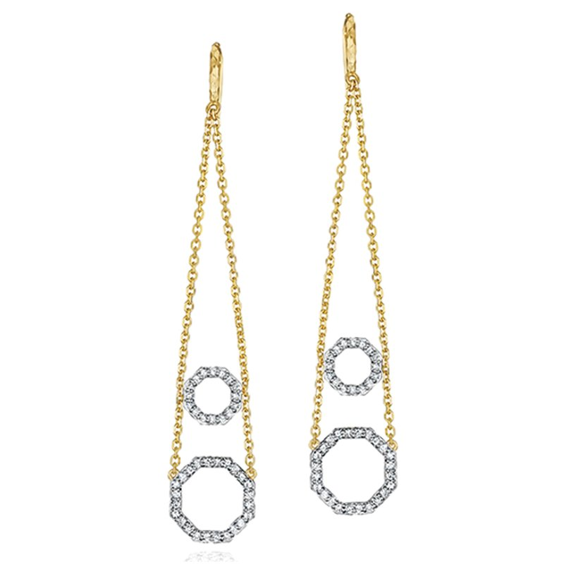 Phillips House Yellow gold diamond hanging wire double Hero earrings