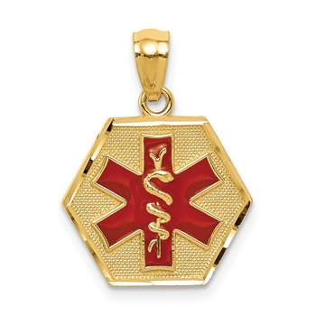 14k Red Enameled Textured Back Medic ID Pendant