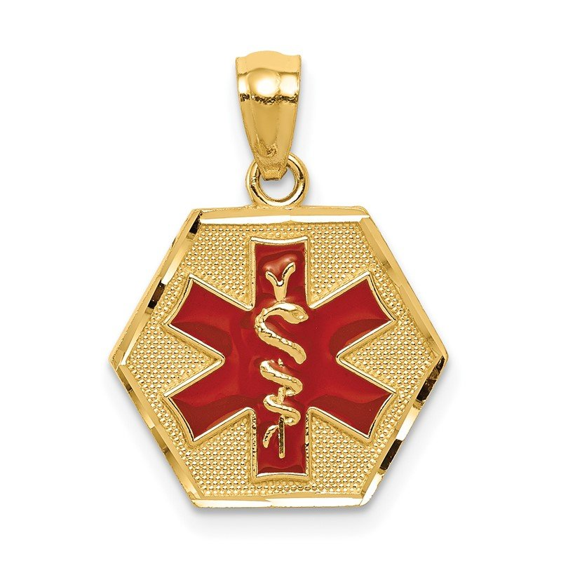 Quality Gold 14k Red Enameled Textured Back Medic ID Pendant