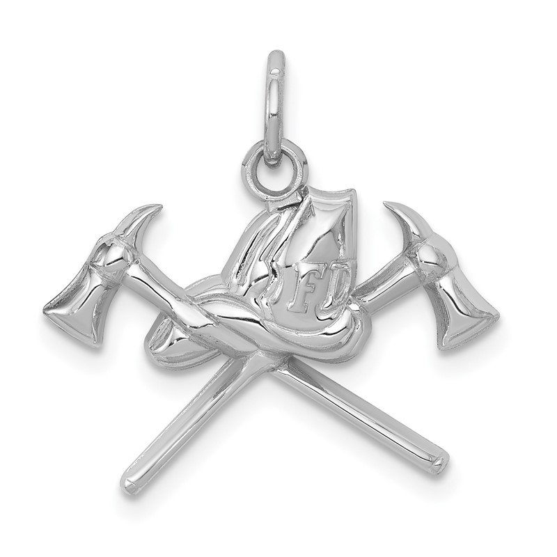 Quality Gold 14k White Gold Fire Department Charm