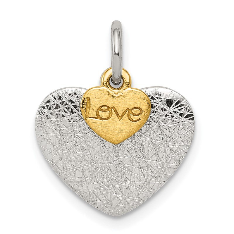 Quality Gold Sterling Silver Gold-plated Textured Love Charm Pendant