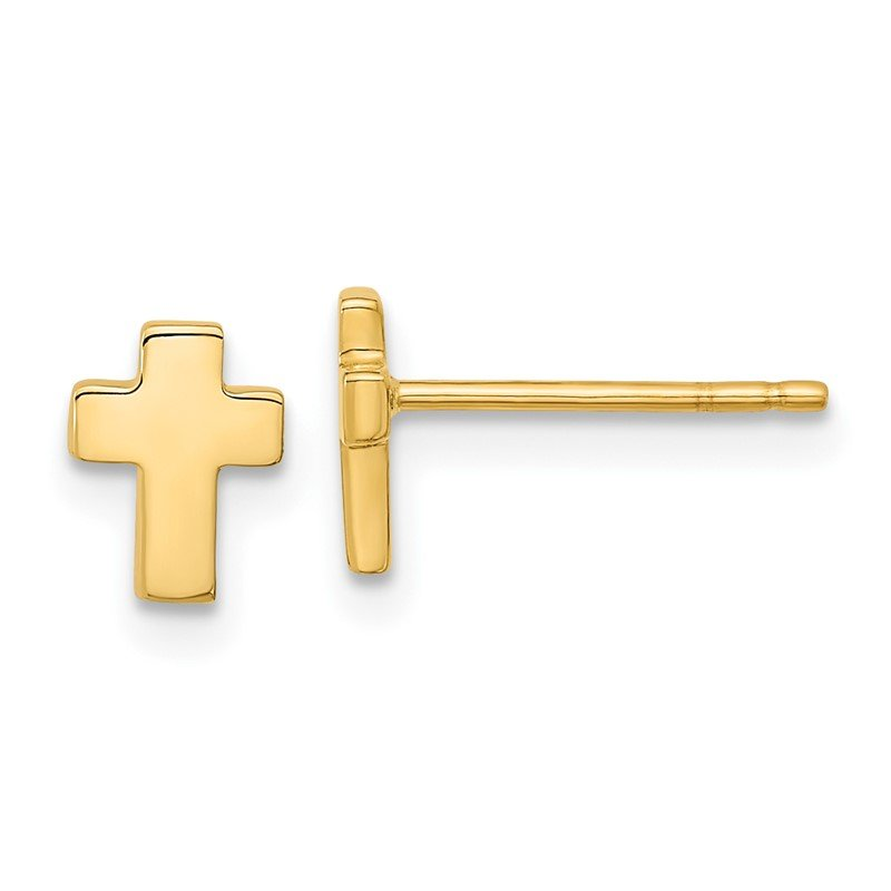 Quality Gold 14k Gold Polished Cross Post Earrings
