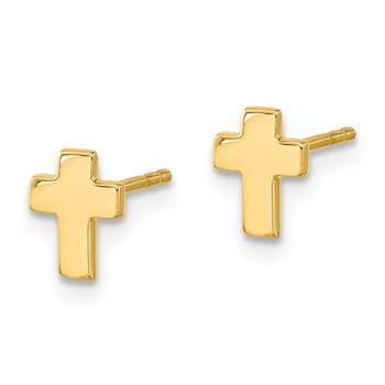 14k Gold Polished Cross Post Earrings