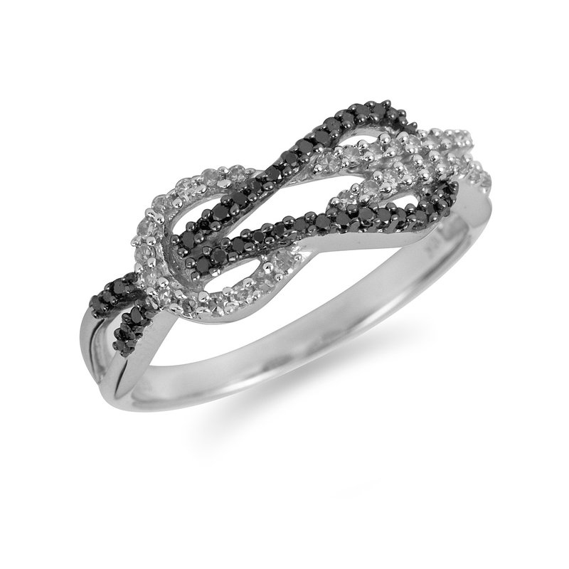 BB Impex 10K WG White and Black Diamond Love Knot Ring