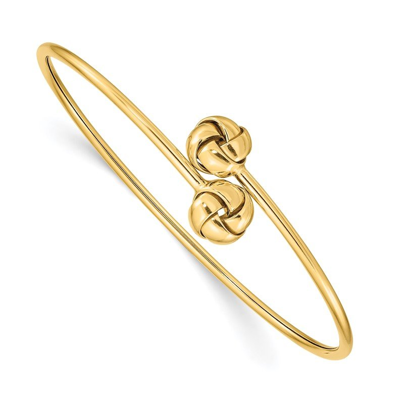 Quality Gold 14K Polished Love Knot Flexible Bangle