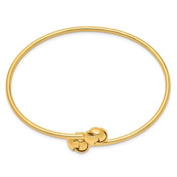 14K Polished Love Knot Flexible Bangle