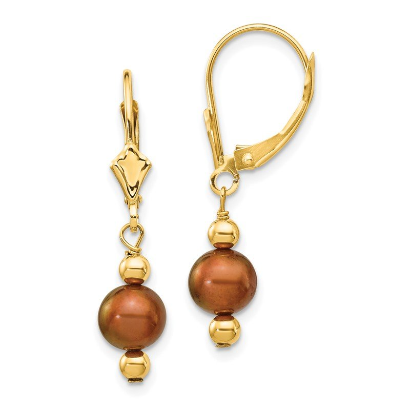 Quality Gold 14K 5-6mm Semi-round Coffee Brown FW Cultured Pearl Leverback Earrings