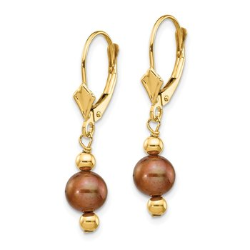 14K 5-6mm Semi-round Coffee Brown FW Cultured Pearl Leverback Earrings