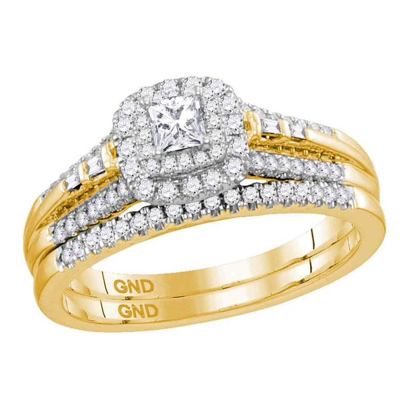 Kingdom Treasures 14kt Yellow Gold Womens Princess Diamond Bridal Wedding Engagement Ring Band Set 1/2 Cttw