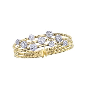 Two-Tone 3 Row Twisted Bangle with Diamond Stations