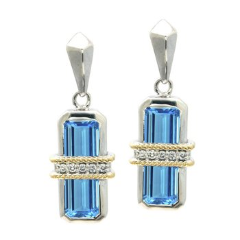18kt and Sterling SilverBlue Topaz & Diamond Earrings