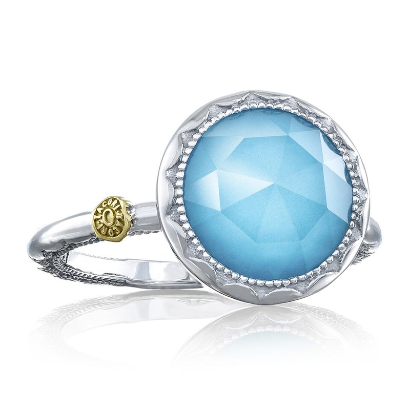 Tacori Fashion Crescent Bezel Ring featuring Clear Quartz over Neolite Turquoise