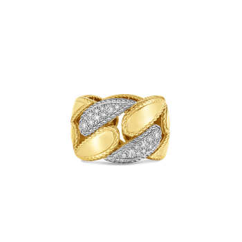 18KT GOLD GOURMETTE LINK RING WITH DIAMONDS