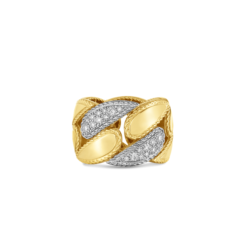 Roberto Coin  #27551 Of 18Kt Gold Gourmette Link Ring With Diamonds