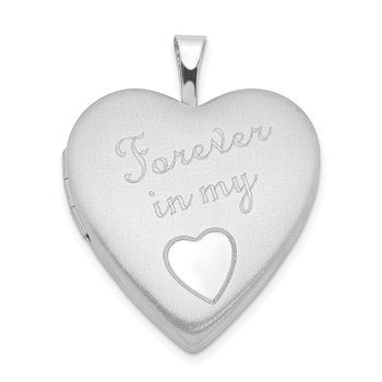 Sterling Silver Rhodium-plated 20mm Forever in my Heart Locket