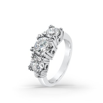 Platinum Retro Three Stone Anniversary Ring