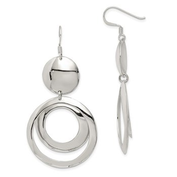 Sterling Silver Polished Fancy Circle Dangle Earrings