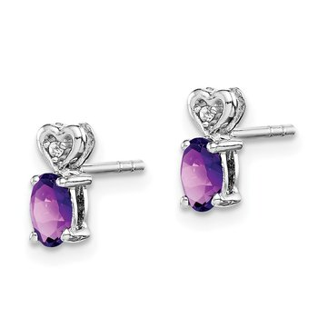 Sterling Silver Rhodium-plated Amethyst & Diam. Earrings