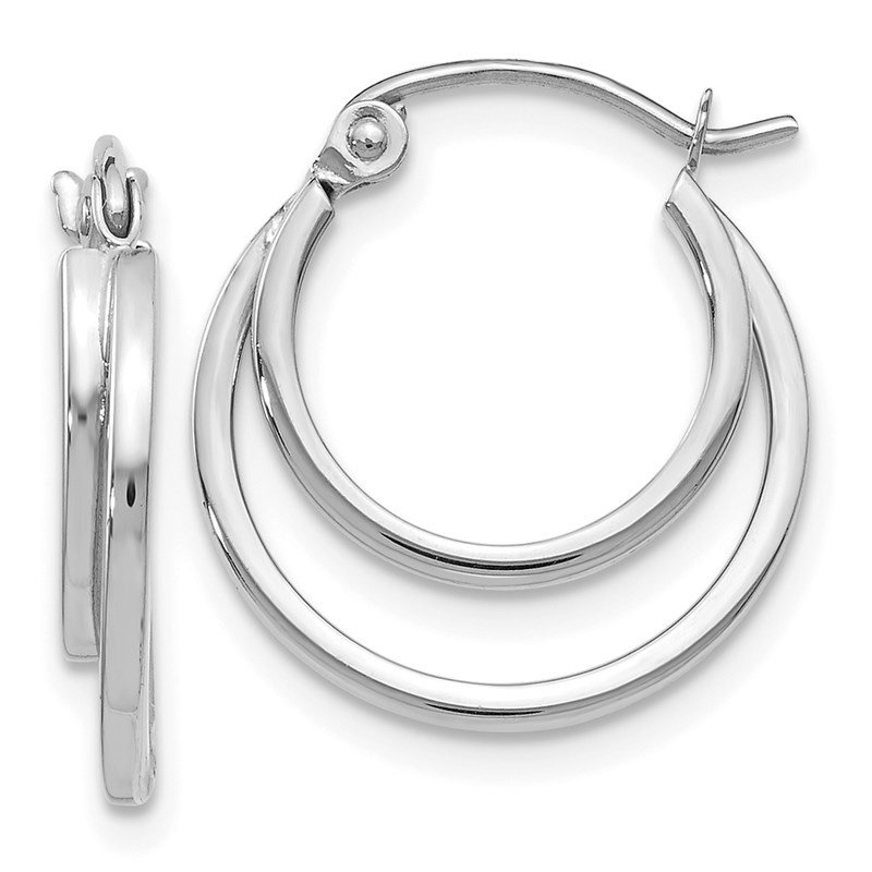 Leslie's Leslie's 14K White Gold Polished Hinged Hoop Earrings