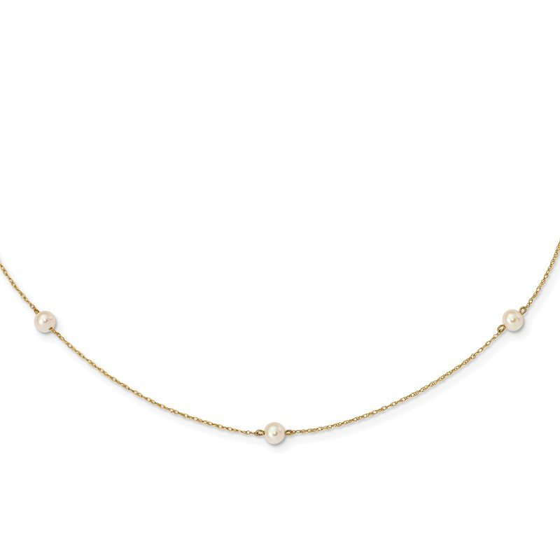 Quality Gold 14K Madi K 4-5mm White Round FW Cultured Pearl 5-station Necklace
