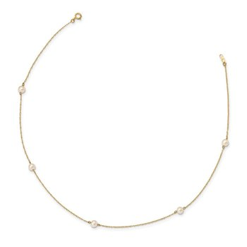 14K Madi K 4-5mm White Round FW Cultured Pearl 5-station Necklace