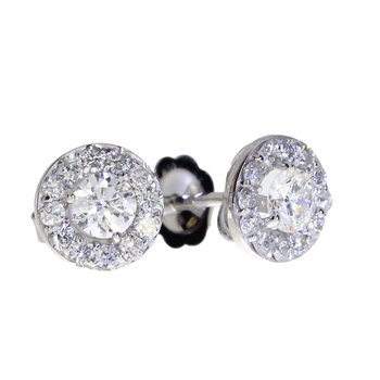 14K White Gold .48 ct Diamond Halo Stud Earrings