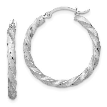 14K White Gold Twisted Satin Diamond-Cut Hoop Earrings