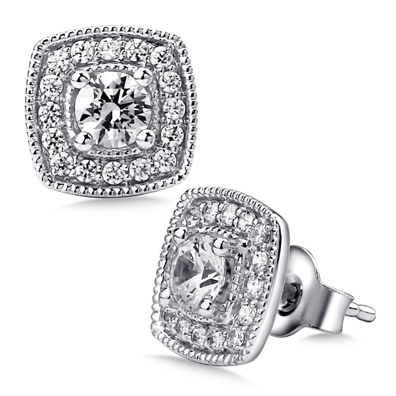 SDC Creations Pave set Diamond Cushion Shaped Halo Earrings, 14k White Gold  (1ct. tw.) GH/SI1-SI2