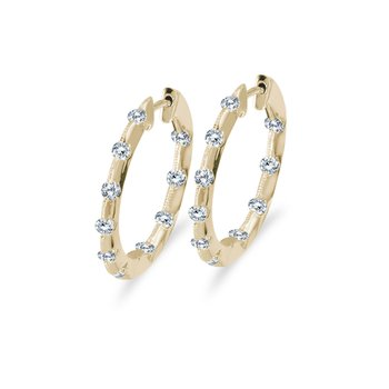 14k Yellow Gold .50 Ct Diamond Inside Outside Hoop Earrings