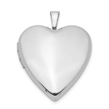 Sterling Silver Rhodium-plated 20mm Polished Front/Satin Back Heart Locket