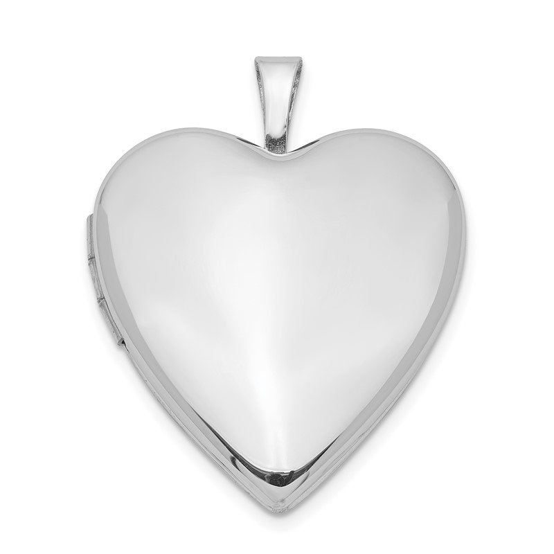 Quality Gold Sterling Silver Rhodium-plated 20mm Polished Front/Satin Back Heart Locket