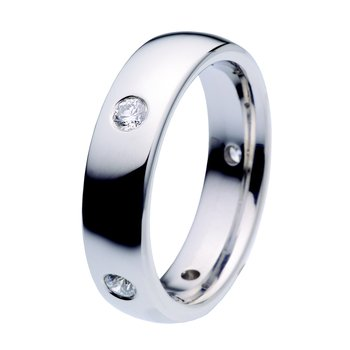 Plain polished band with diamonds