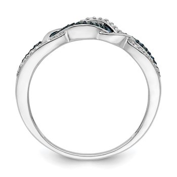 Sterling Silver Rhod Plated Blue and White Diamond Ring