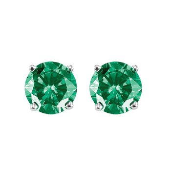 14K Green Diamond Studs 3/4 ctw
