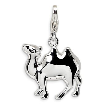 Sterling Silver 3-D Camel w/Lobster Clasp Charm