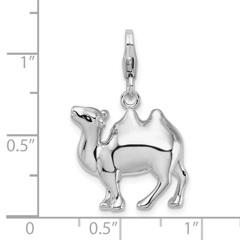 Quality Gold Sterling Silver RH 3-D Camel w/Lobster Clasp Charm