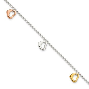 Sterling Silver Polished Flash Gold-plated Heart Bracelet