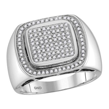 10kt White Gold Mens Round Diamond Square Frame Cluster Ring 1/2 Cttw