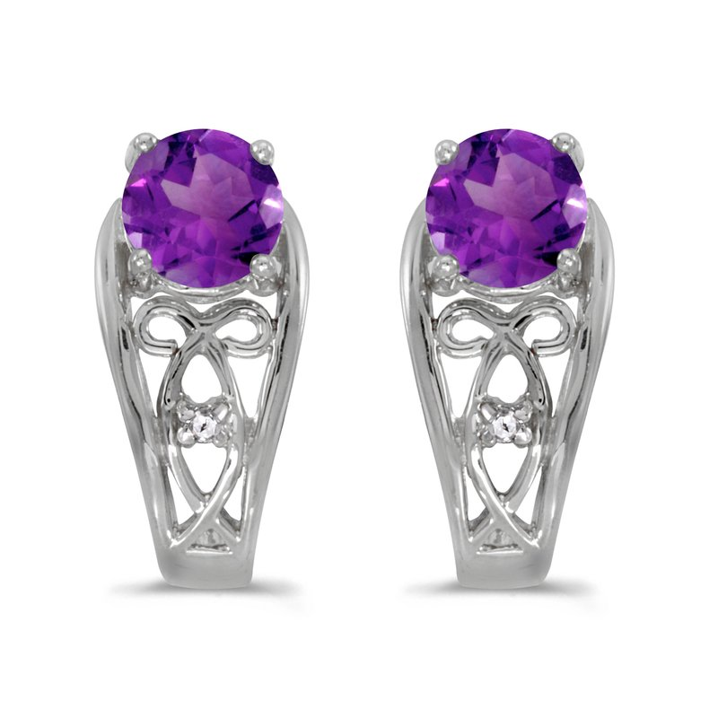 Color Merchants 10k White Gold Round Amethyst And Diamond Earrings