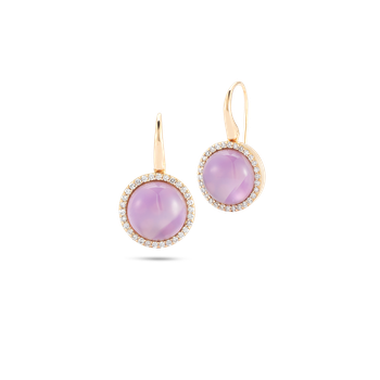 Earrings with Diamonds, Amethyst and Mother of Pearl