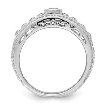 Sterling Silver Rhodium-plated w/CZ Ring