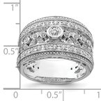 Quality Gold Sterling Silver Rhodium-plated w/CZ Ring