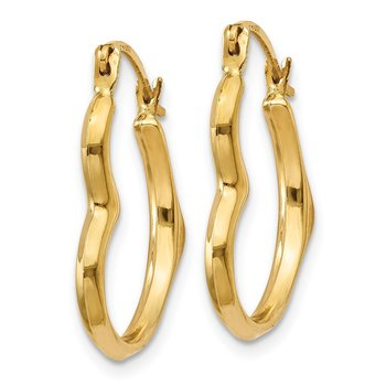14k Heart Hoop Earrings