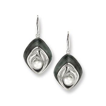 Gray Diamond-Shaped Wire Earrings.Sterling Silver-Freshwater Pearls